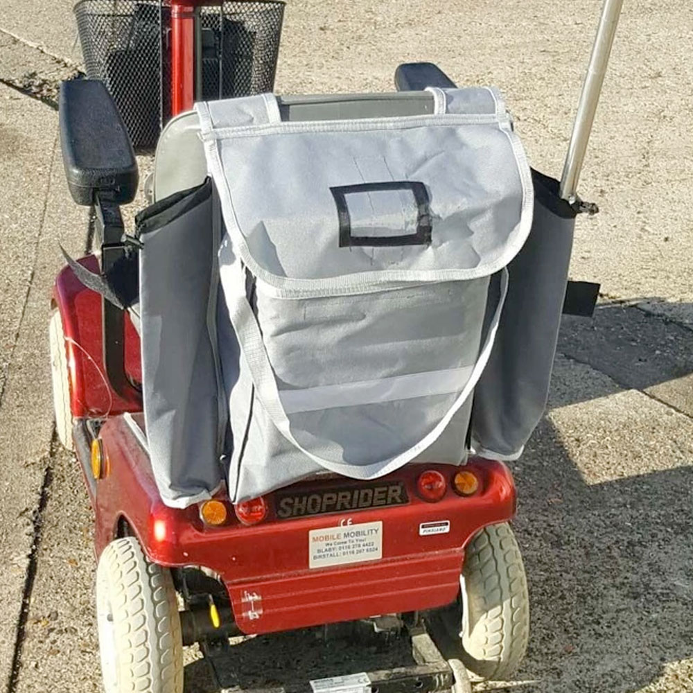 Deluxe mobility scooter bag with crutch/stick holders
