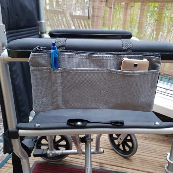 wheelchair arm rest organiser
