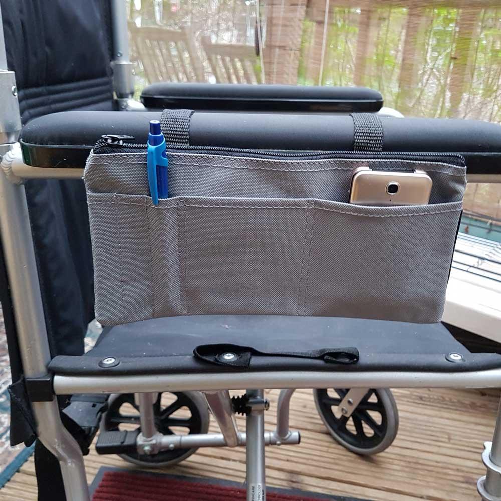 wheelchair arm rest organiser